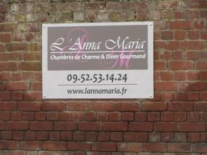 Pancarte de l'Anna Maria, chambre d'hôtes Nord Flandres 59, 90 rue Jean Mermoz 59253 La Gorgue